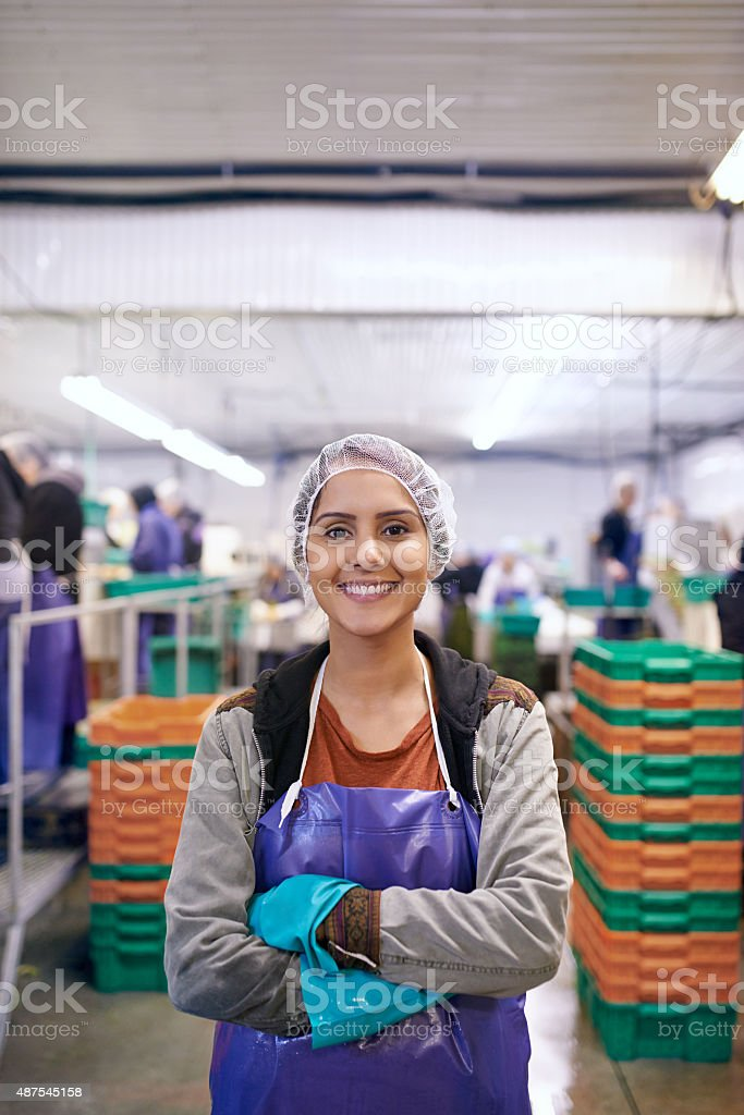 Processing food that will eventually reach you stock photo