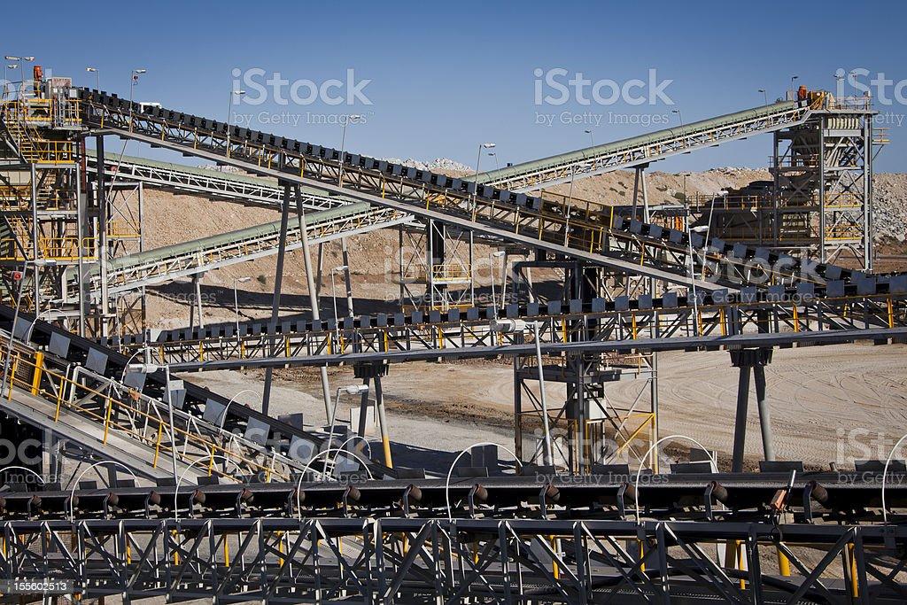 Processing Plant, Conveyor Belts. royalty-free stock photo