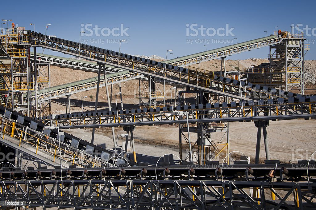 Processing Plant, Conveyor Belts. stock photo