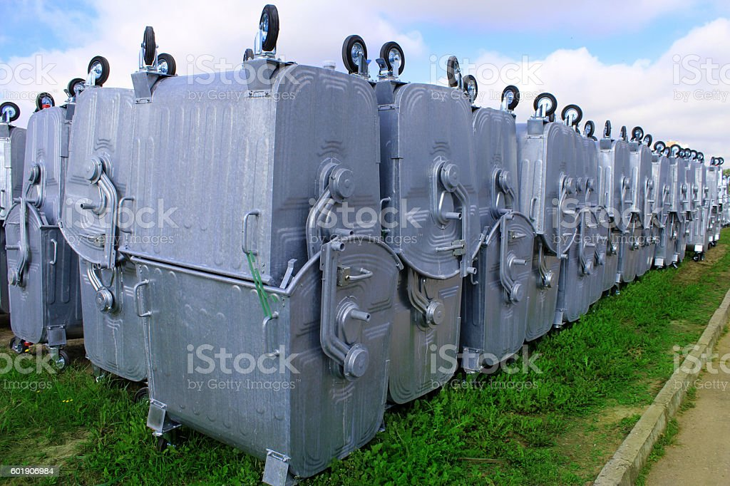 Processing plant debris. Garbage containers. stock photo