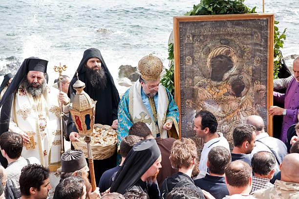Procession at Iviron Monastery stock photo