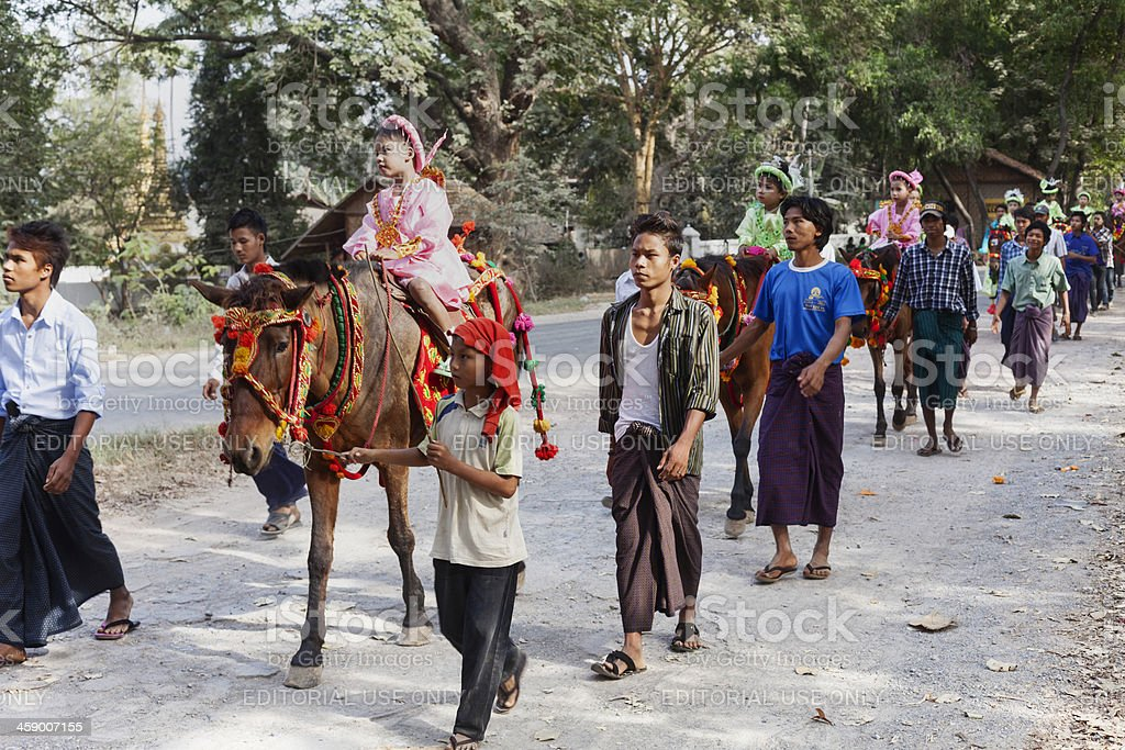 Procession going to monastry in Myanmar. royalty-free stock photo