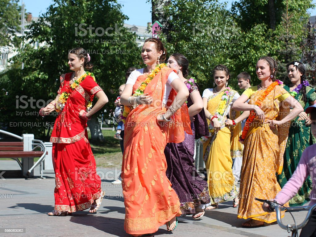 Procession of Krishna at a pedestrian boulevard stock photo
