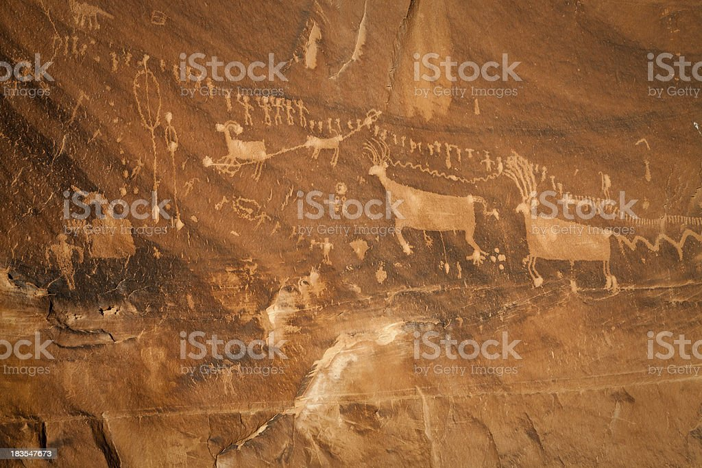 Procession Panel Pictograph Animals and Figures stock photo