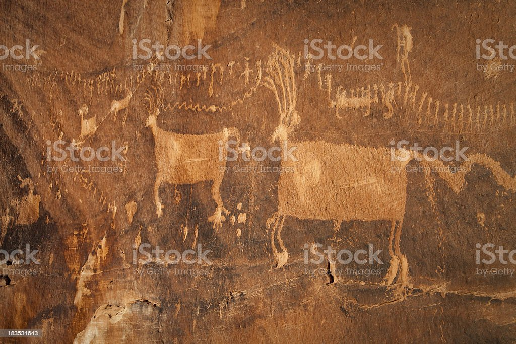 Procession Panel Pictograph Deer Figures stock photo