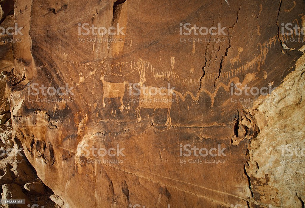 Procession Panel Pictograph Sandstone Wall stock photo