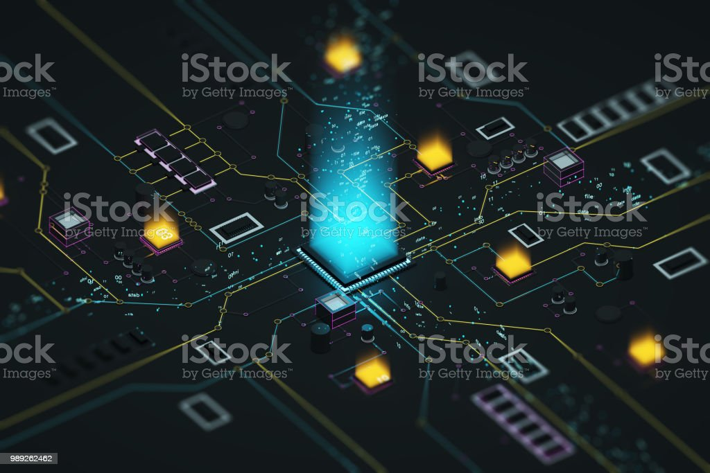 Processor and data stock photo