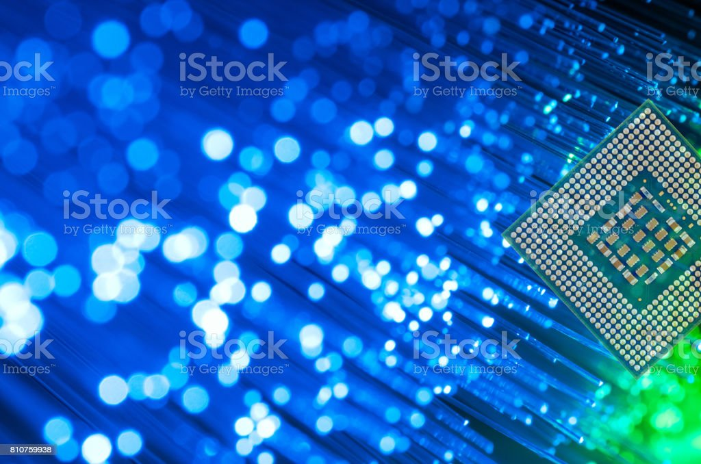 Processor Chip On Fiber Optics stock photo