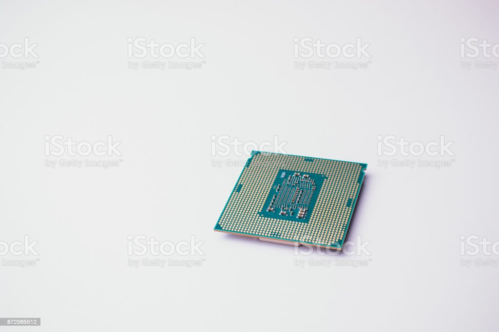 processor for computer isolated on a colored background stock photo