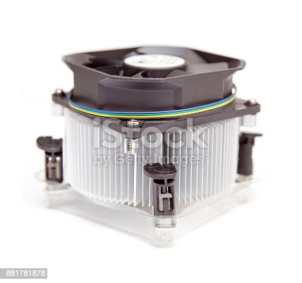 istock Processor heatsink cooler fan on white background 881781878