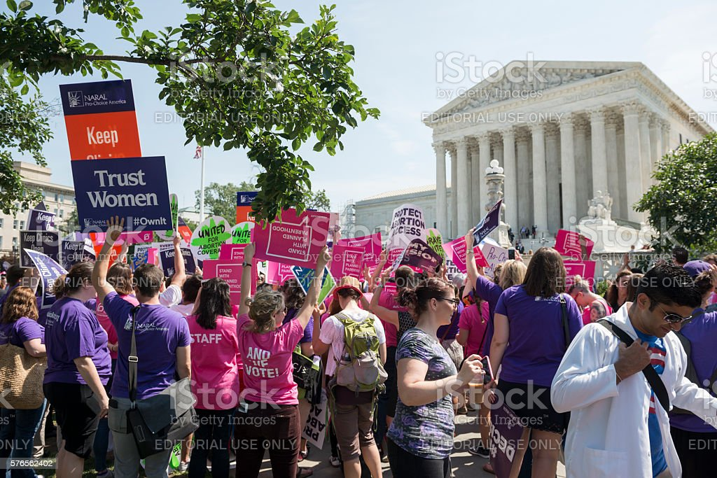 Pro-choice supporters at U.S. Supreme Court stock photo
