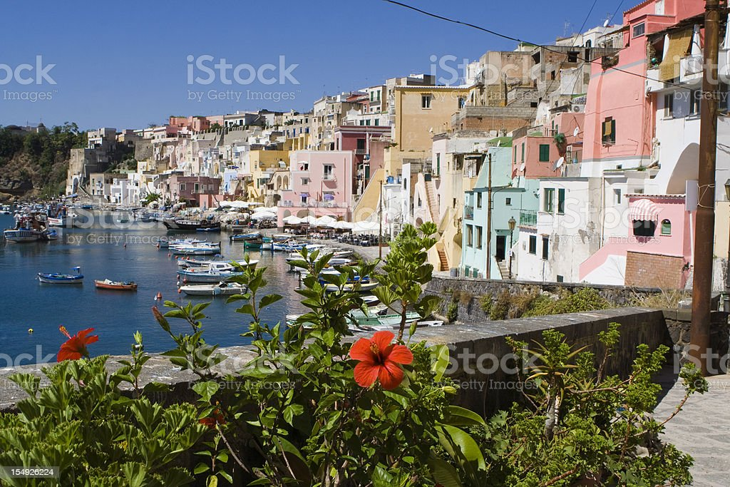 Procida, Fishermans Village in Bay of Naples, Italy stock photo