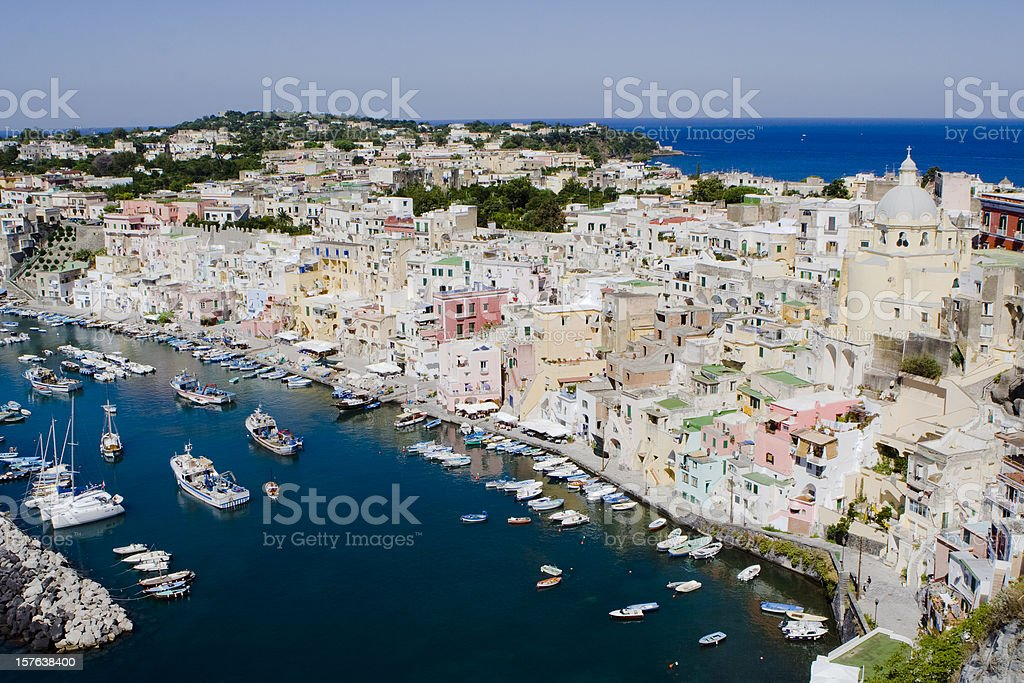 "Procida, Fisherman's Village ""La Corricella"", Bay of Naples, Italy royalty-free stock photo"