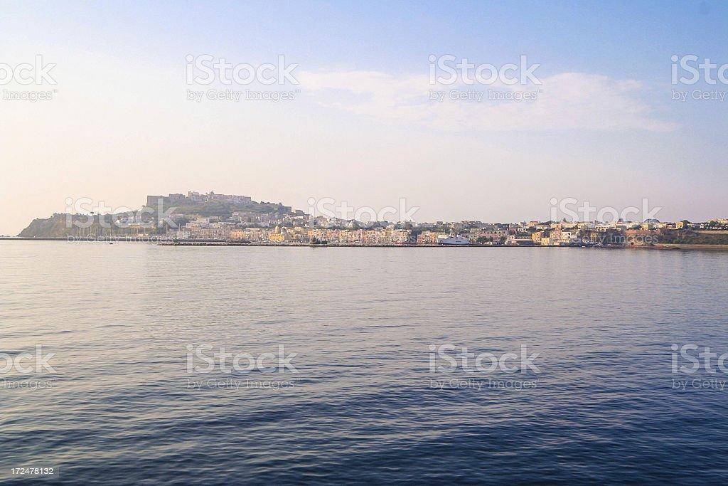 Procida Island Castle and Harbor, Italy royalty-free stock photo