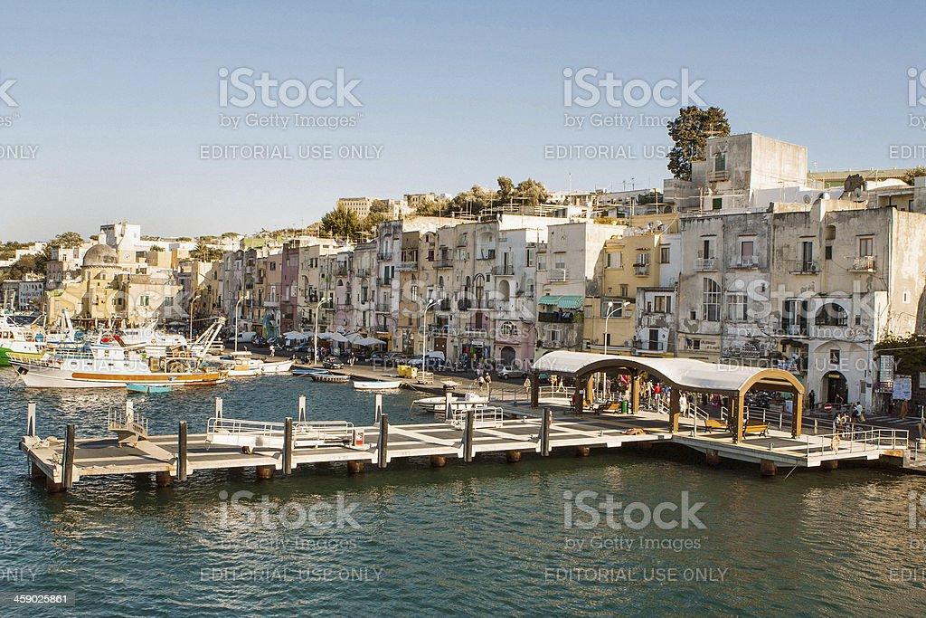 Procida Island Harbor at Sunset royalty-free stock photo