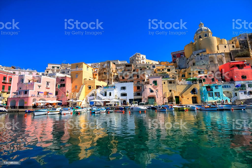 Procida, island in the italian sea coast, naples, italy stock photo