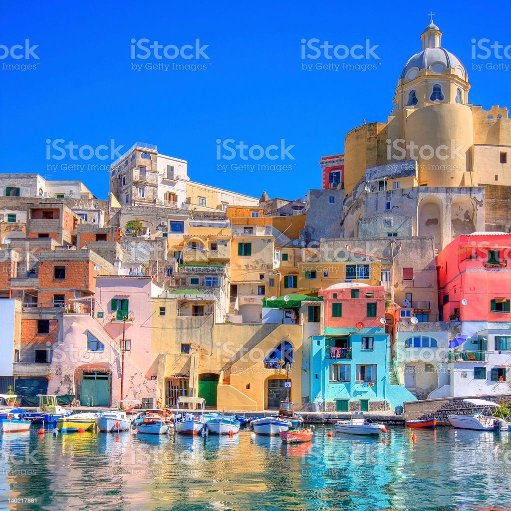 Procida, Italy. Beautiful island in the mediterranean sea stock photo
