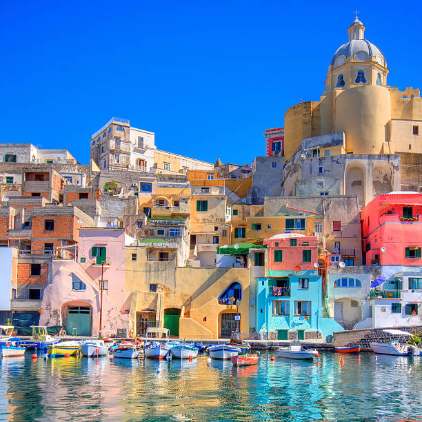 procida, italy. beautiful island in the mediterranean sea - south stock photos and pictures