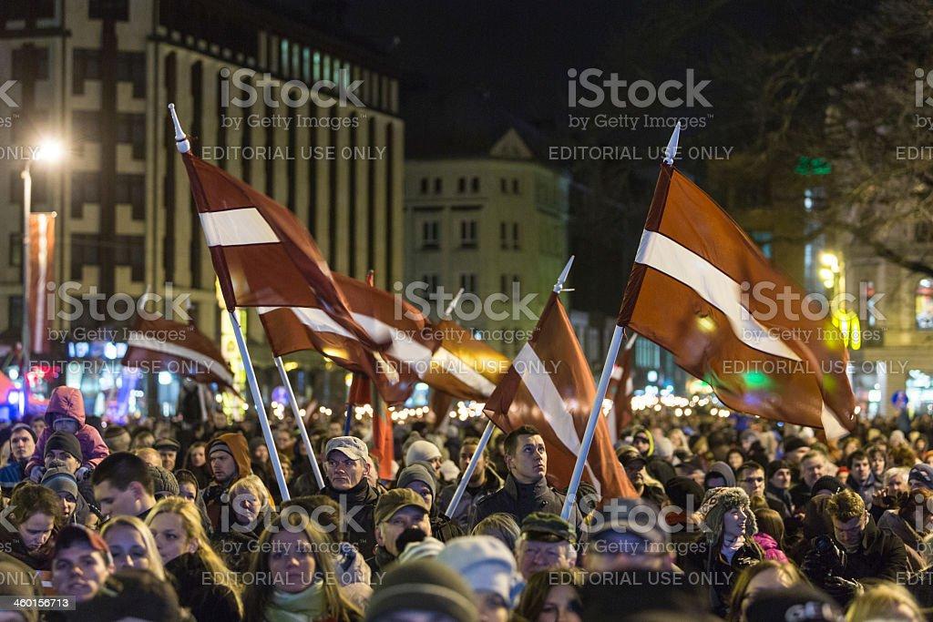 Proclamation Day of Latvia stock photo