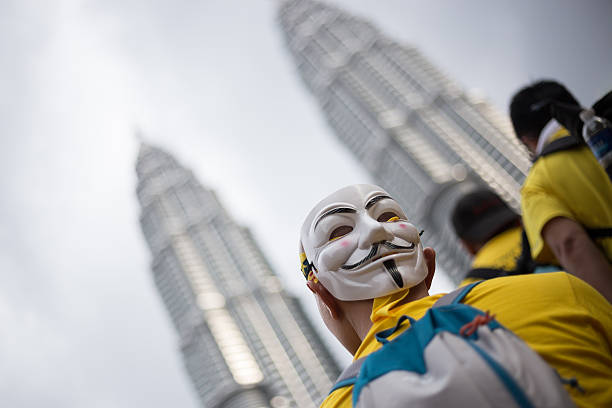 pro-democracy bersih 5.0 protesters rally - guy fawkes maske stock-fotos und bilder