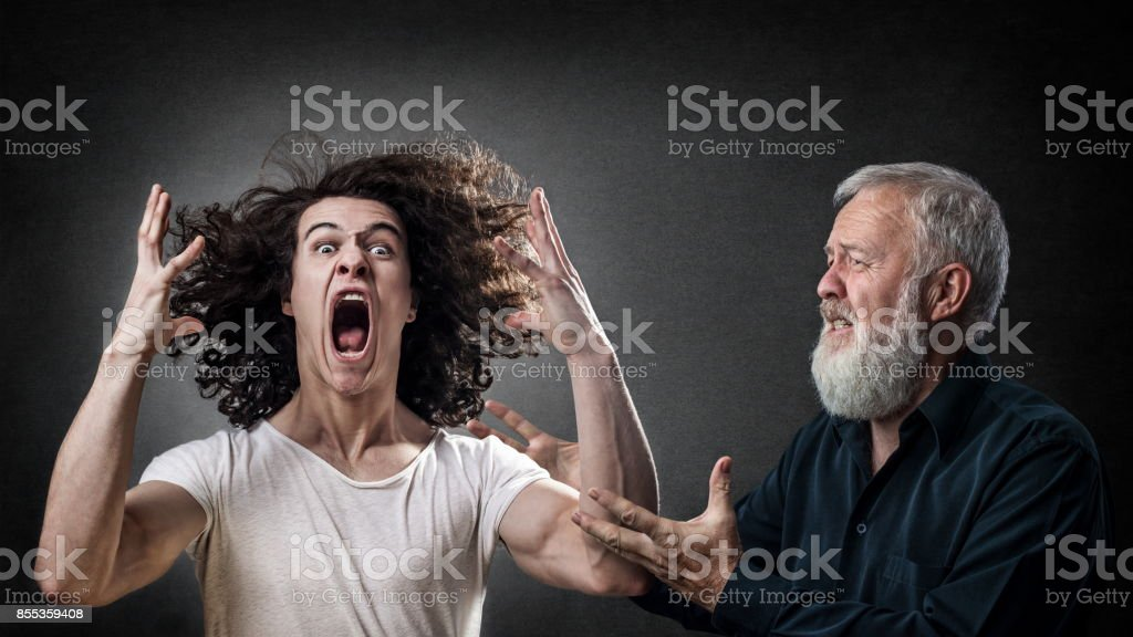 Prodigal angry son stock photo