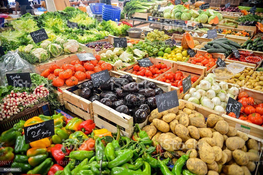 Produce are for sale in a local India market stock photo