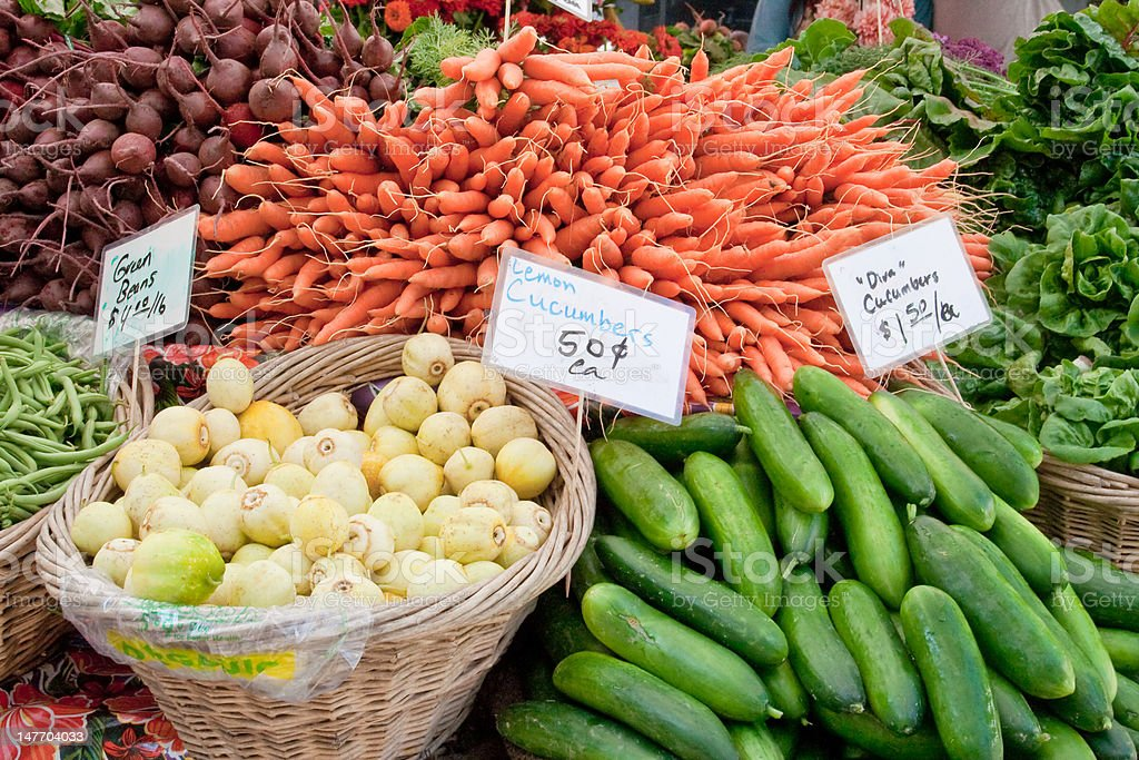 produce at farmers market stock photo