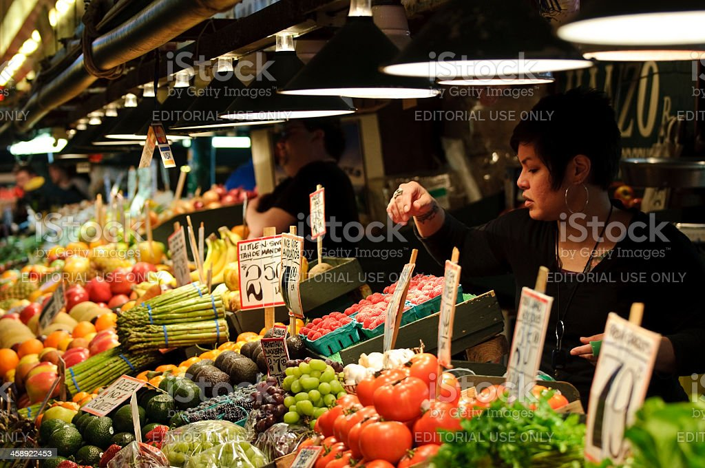 Produce at Pike Place Market in Seattle stock photo