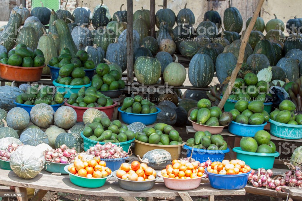 Produce at roadside stand, Uganda, Africa stock photo
