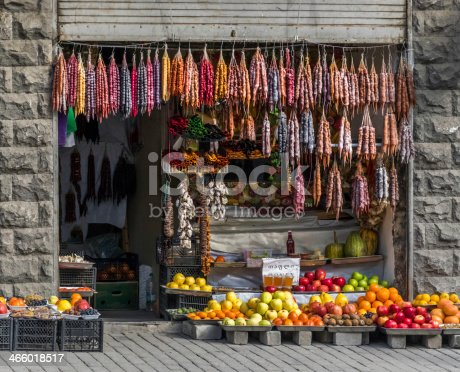 produce store front market with colorful fruit - Tbilisi Georgia