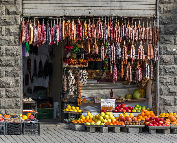 Produkte Markt vorne, churchkhela, bunte Obst-Tiflis, Georgia – Foto