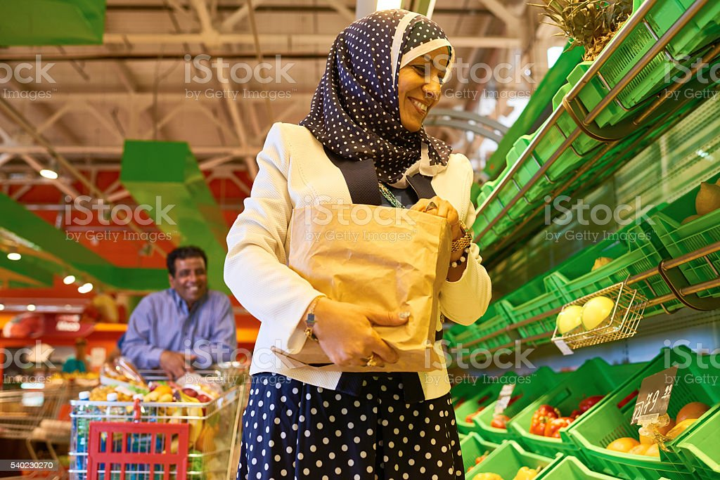 Produce section in supermarket stock photo