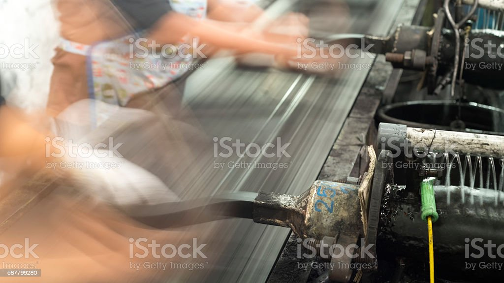 Producing charcoal briquettes from the coal paste stock photo