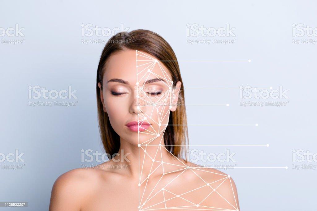 Produkt Anti-Aging-Uplift Werbekonzept. Close-up Portrait schöne nette attraktive Dame perfekten Glanz makellos saubere klare geschlossen Augen Punkte Strukturplan auf grau blau Pastell Hintergrund isoliert – Foto
