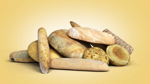product categories bakery products different types of bread 3d render on a color gradient background stock photo