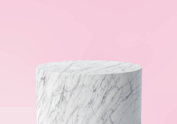 product display. empty white marble podium on pastel pink color background. 3d rendering. - piedistallo foto e immagini stock