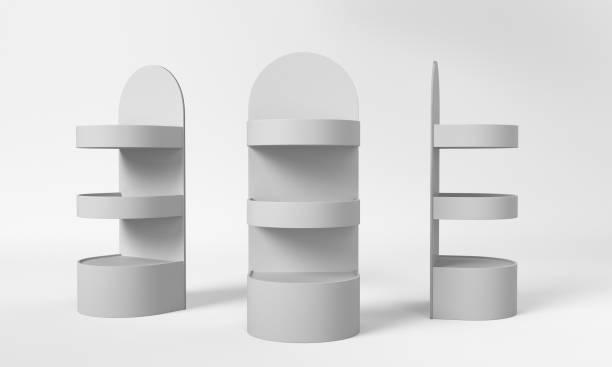 product display shelf mock-up - espositore per negozio foto e immagini stock