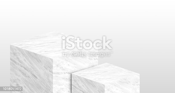 istock Product display stand made from white glossy marble in two step with copy space for display of content design or replace your background,Banner for advertise product on website,3d rendering. 1018011472