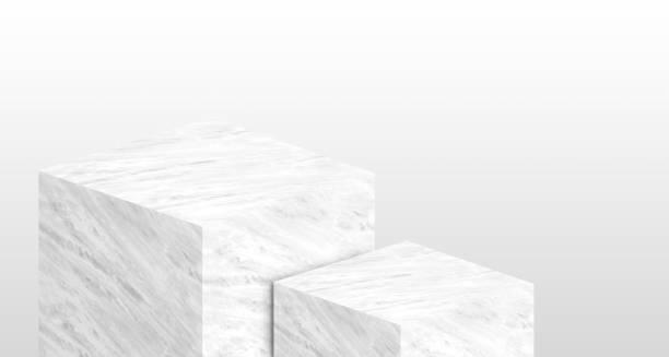 Présentoir de produits fabriqué à partir de blanc brillant marbre en deux étape avec un espace pour l'affichage de contenu design copie ou remplacer votre fond, bannière de publicité produit sur site, rendu 3d. - Photo
