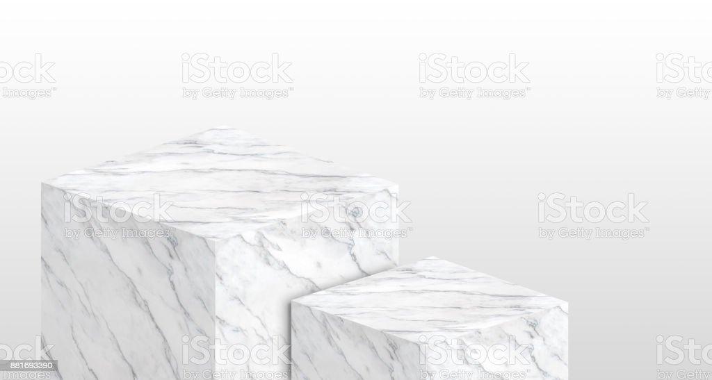 Produkt Display Ständer aus weiß glänzendem Marmor in zwei Schritt mit textfreiraum zur Darstellung von Content-Design oder Ihrem Hintergrund ersetzen, Banner für Werbung auf Website, 3D-Rendering – Foto