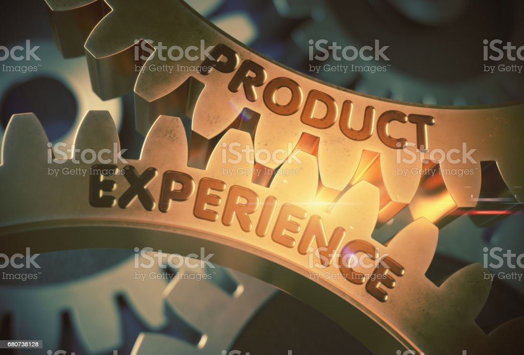 Product Experience Concept. Golden Gears. 3D Illustration stock photo