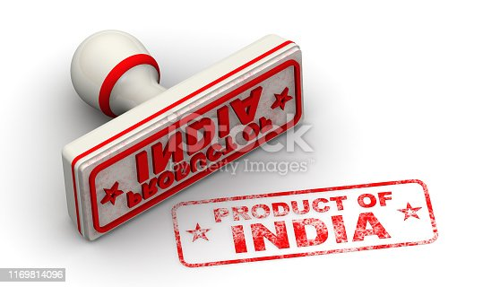 1181637623istockphoto Product of India. Seal and imprint 1169814096