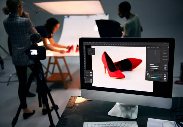 Product photography shoot of shoes stock photo