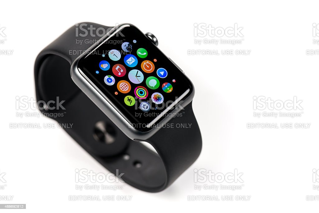 Product shot 42mm Apple Stainless Steel Watch on white stock photo