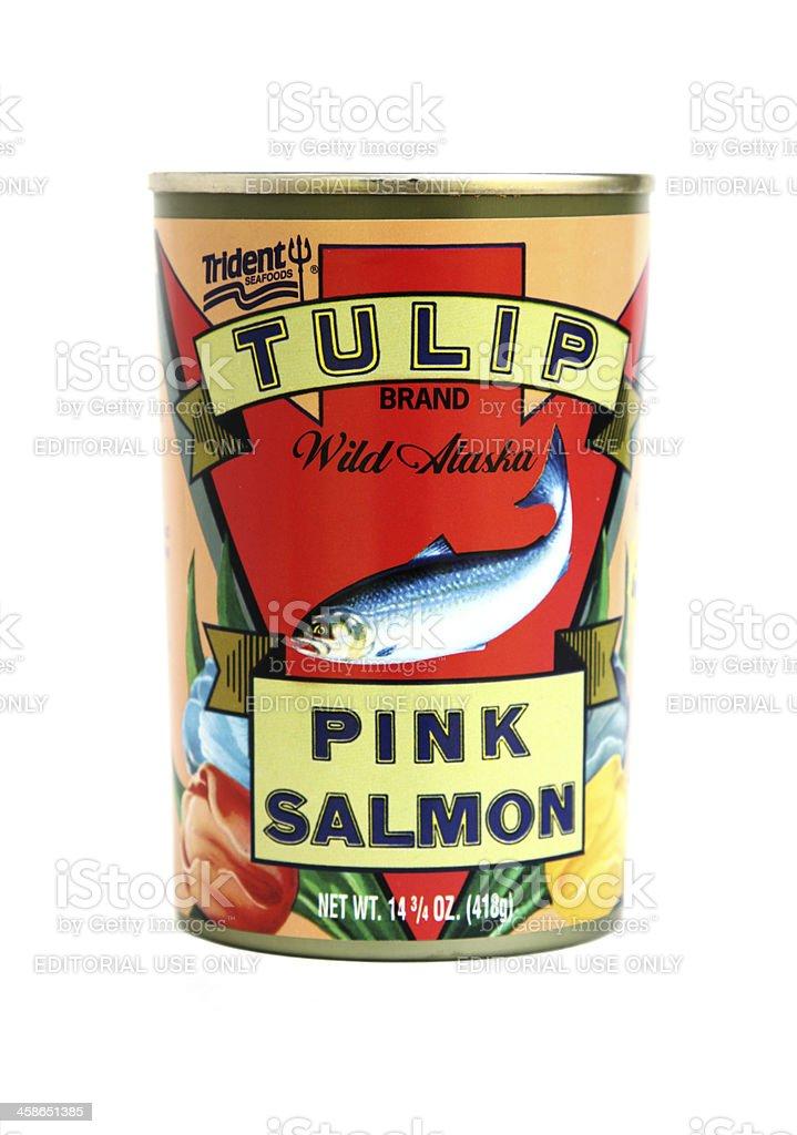 Product shot of Tulip brand Wild Alaska Pink Salmon stock photo