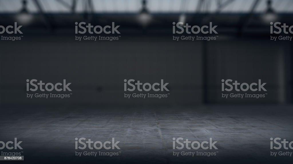 Produto vitrine fundo armazém borrado renderização .3D - foto de acervo