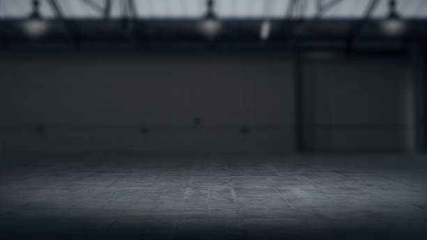 product showcase background warehouse blurred .3d rendering - cool imagens e fotografias de stock
