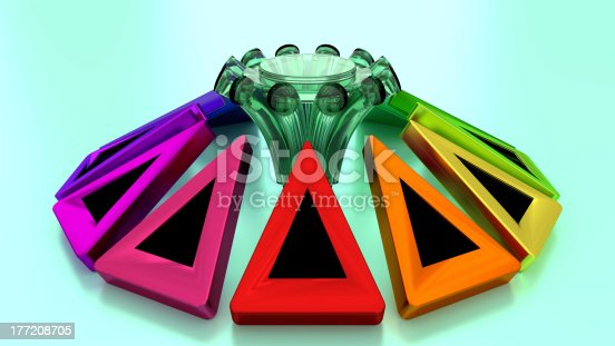 istock Product Stand for Exhibition Display - Center Point Surrounded Arrows 177208705