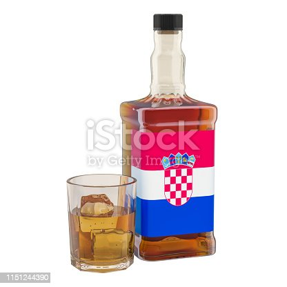 istock Production and consumption of alcohol drinks in Croatia, concept. 3D rendering isolated on white background 1151244390