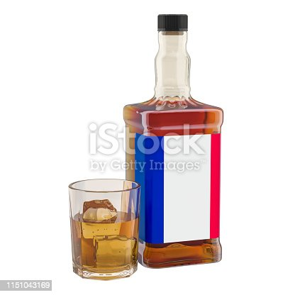 istock Production and consumption of alcohol drinks in France, concept. 3D rendering isolated on white background 1151043169